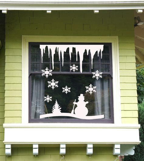 Christmas Tree and Snowflakes, Icicles Windows and Wall Sticker Vinyl Decal USA #GreenStarUSA #Contemporary