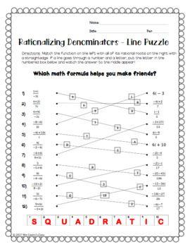 Rationalizing Complex Denominators Line Puzzle Activity