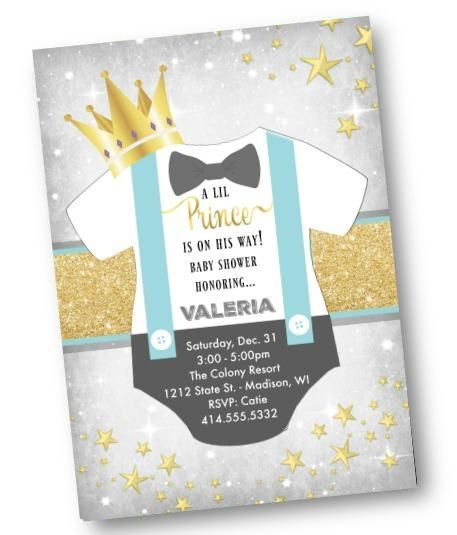 Prince Baby Shower Invitation Gold and light blue Lil Prince onesie Little Prince invite flyer