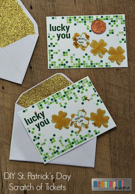 St. Patrick's Day DIY Scratch off Ticket for Kids - Free Printable with Blank Tickets Available Also