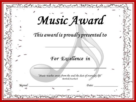 MUSIC AWARD CERTIFICATES *editable* 41 **editable** certificates