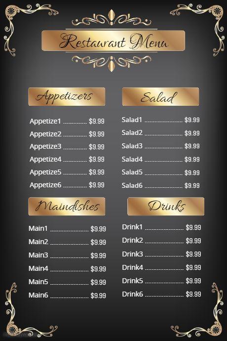 Image Result For Restaurant Menus Restaurant Fast Food Exemple