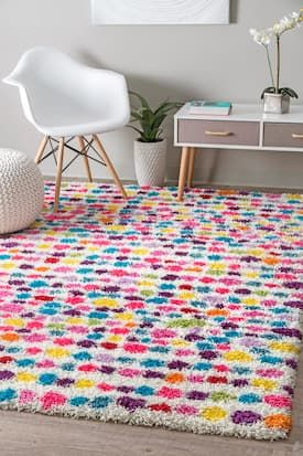 Rugs USA Multi Radiance Kids Dotted Striped Shag rug - Contemporary Rectangle x Kids Area Rugs, Blue Area Rugs, Polka Dot Rug, Polka Dots, Big Girl Rooms, Kids Rooms, Babies Rooms, Rugs Usa, Rectangular Rugs