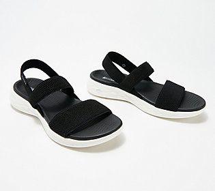 Skechers On The Go Gore Back Strap Sandals Flawless Qvc Com Skechers On The Go Skechers Shoes Women Skechers