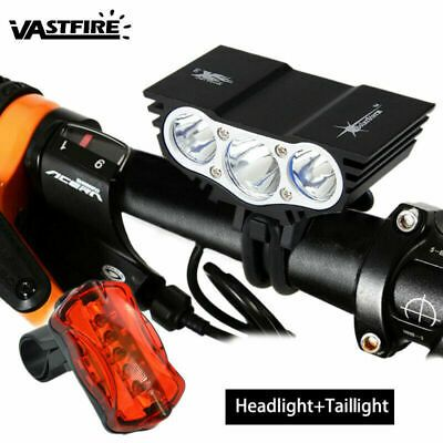 20000LM Dual LED MTB Bike Light Bicycle Front Headlight Tailight USB Rechargable