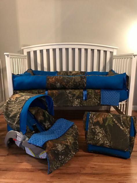 6pc nursery set crib set made with mossy oak camo fabric & free monograms and diaper bag