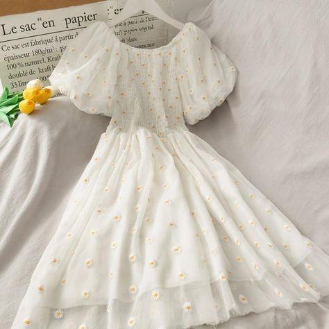 High Waist Casual Mesh Dress Women 2021 Summer Short Sleeve Daisy Embroidery Streetwear Korean Style Party Dress Female Vestidos - White / L