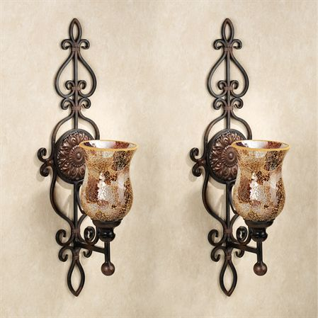 Leyanna Mosaic Aged Brown Wall Sconce Pair Candle Wall Decor Candle Wall Sconces Candle Holder Wall Sconce