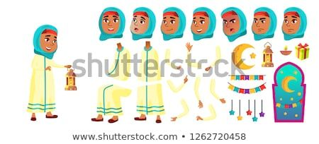 Arab, Muslim Girl Kid Vector  Primary School Child