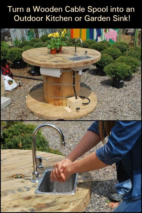 Keep Dirt Out of Your Home After Working in Your Garden With This Wooden Cable Spool Garden Sink