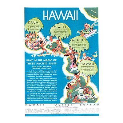Buyenlarge 'Hawaii' by 'Hawaii' Tourist Bureau Vintage Advertisement Size: