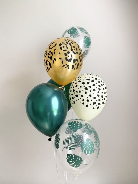 Palm Leaf Cheetah Leopard Forest Balloons Animal Print Balloons Wild One Party Jungle Party Safari Party Tropical Party Palm Leaf Balloons Cheetah Birthday, Cheetah Party, Safari Theme Birthday, Boys First Birthday Party Ideas, Jungle Theme Parties, Wild One Birthday Party, Dinosaur Birthday Party, Safari Party, Leopard Birthday Parties