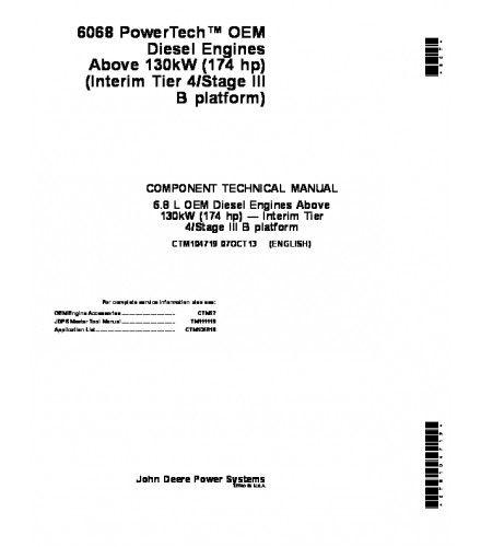 JOHN DEERE 6068 POWERTECH 6 8 L OEM ABOVE 130kW 174 Hp