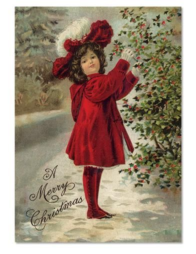 Victorian Trading Co Girl in Christmas Red Holiday Cards Pkg Of 10
