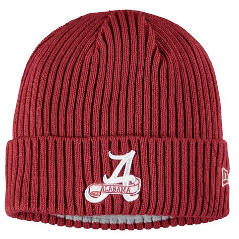 Men's New Era Crimson Alabama Crimson Tide Vintage Core Classic Cuffed Knit Hat, ALA Red
