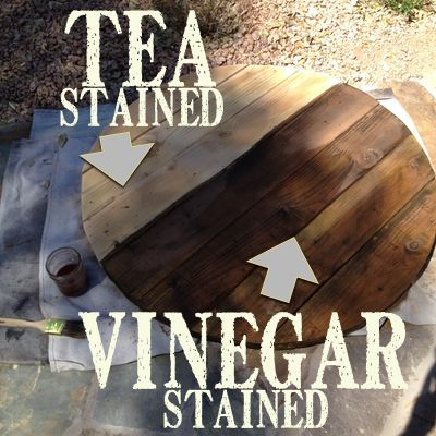 How to aged new wood to look like old barn wood using tea and vinegar. I loving using this technique for farmhouse style projects. The table top above was done several years and the top still looks great! Stays outside in all weather.   Country Design Style   http://countrydesignstyle.com