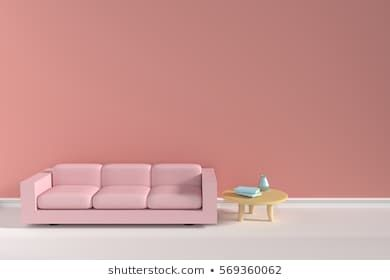 3d Sofa And Three Legs Table With Pick Background Living Room Interior Royalty Free Stock Images Stock Illustration Illyustracii