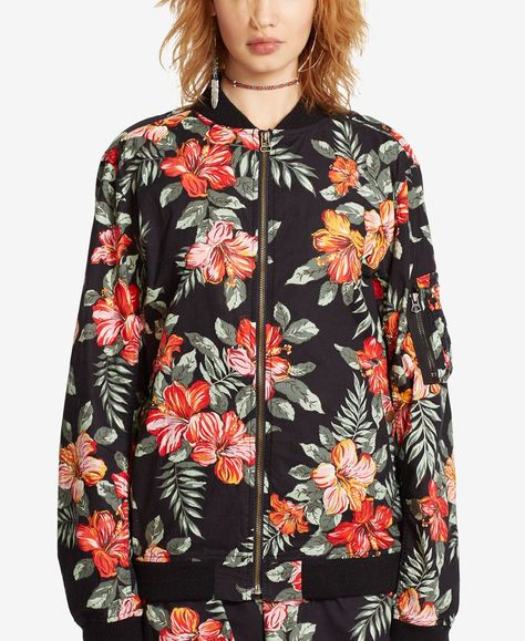 Denim & Supply Ralph Lauren Floral-Print Baseball Jacket
