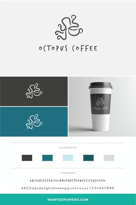 Octopus Coffee Logo Branding | Coffee Cup Graphic Design | Negative Space Logo