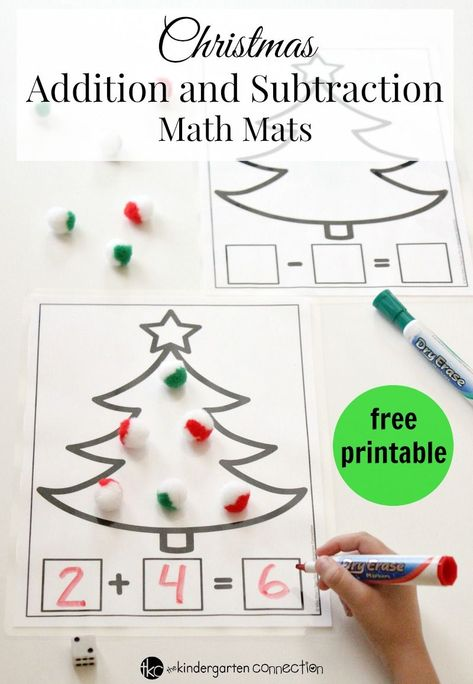 These Christmas addition and subtraction printable math mats are such a fun math center for Pre-K, Kindergarten, or grade! Kindergarten Centers, Math Centers, Preschool Kindergarten, Kindergarten Addition, Math Addition, Math Crafts, Preschool Christmas, Christmas Activities For Preschoolers, Winter Activities