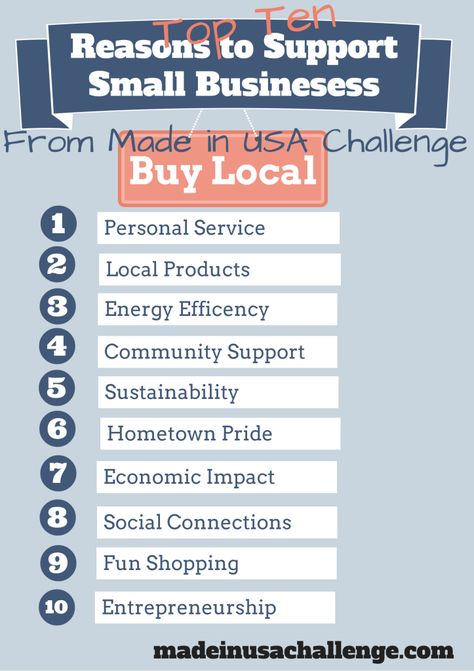 To commemorate Small Business Week (May 12-18), here are ten reasons why you should support small local businesses.