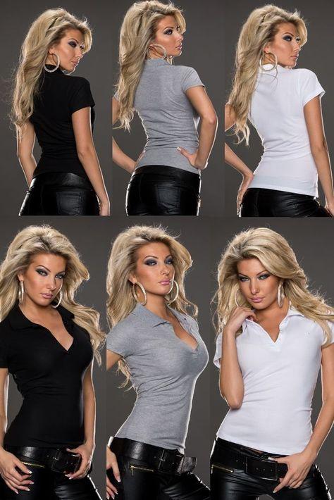 Basic Damen Polo Shirt,Kurzarmshirt,Bluse Hemdbluse 36,38,40,42Grau,Weiß,Schwarz