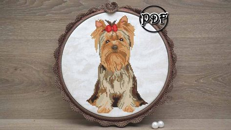 Yorkie gifts - Dog cross stitch pattern pdf - Yorkie art - Yorkshire Terrier art - Dog lover gift - Yorkie mom DIY, Hand embroidery designs by AnnaXStitch ...