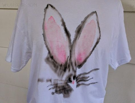 Watercolor Bunny Shirt Diy Diy Shirt Watercolor Fabric Diy