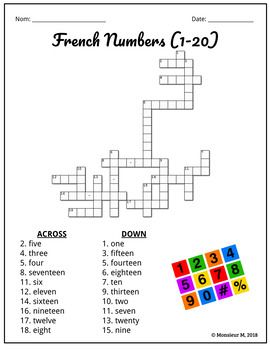 French Numbers Crossword Puzzle Word Search Les Nombres French Numbers French Basics French Worksheets