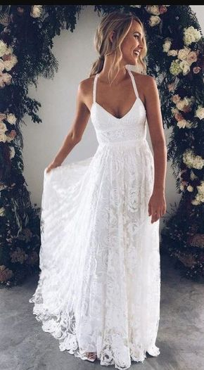 Mermaid Spaghetti Straps Lace Beach Wedding Dress 2019 Lace