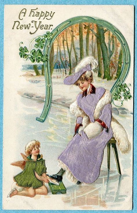 Postcard Woman Ice Skater