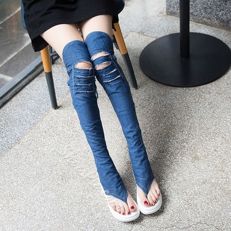 48af52f9ad6c Shoespie Denim Cutout Over the Knee Back Lace Up Gladiator Sandals ...