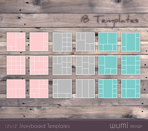 18 Storyboard Templates - Instant Download - Photo Collage, Blog - professional storyboard template