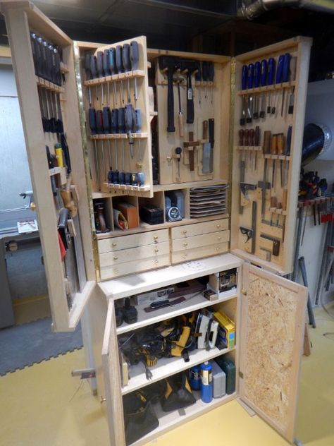 Woodworking Workshop - Need storage for hand tools? Here they are stored in a shop made cabinet, which is now bursting at the seams. Looks like additional storage will be required for more tools. Great shop idea! A little like the Studley cabinet.