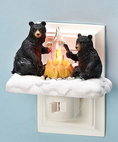4 BLACK BEARs lounging carved wood shelf sitter rustic cabin country home decor
