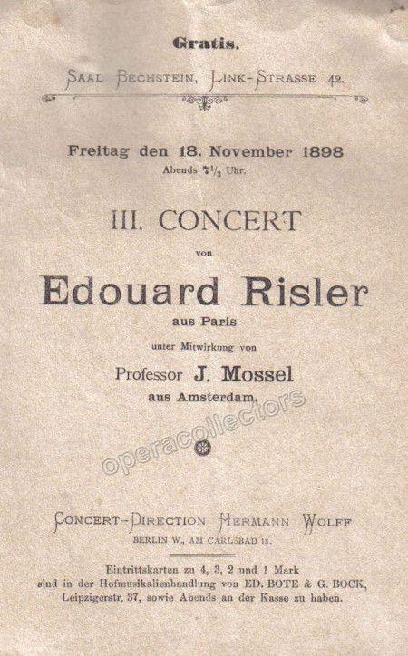 Risler, Edouard - Concert Program 1898 Products Pinterest - concert program