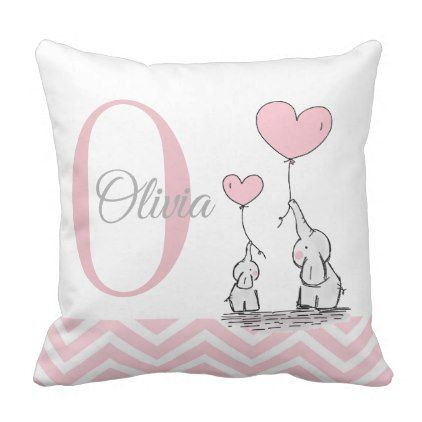 ae79a63a4172b Pastel Pink Elephant Personalized Baby Girl Pillow | Zazzle.com ...