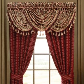 Croscill Roena Waterfall Swag Valance Red Valance Custom Drapes Curtains