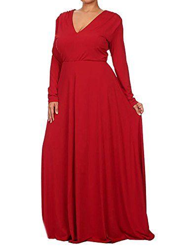 2e162d4776 Robe De Soirée Casual Manches Longues Col V Couleur Unie Grand Taille Chic  Vintage De Soirée