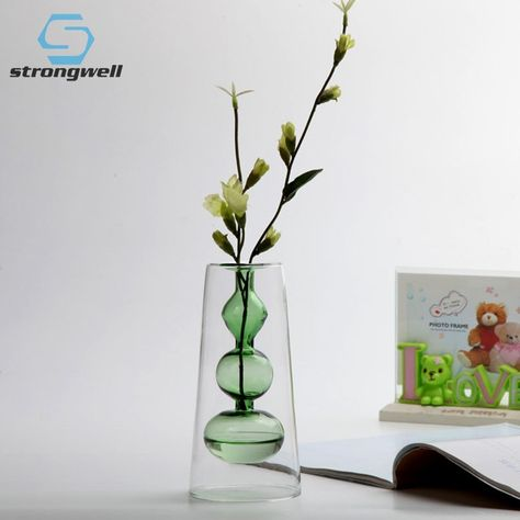 Strongwell Nordic Color Glass Vase Art Ornament Desktop Hydroponic Double-Layer Flower Vase Modern Home Decoration Wedding Gift