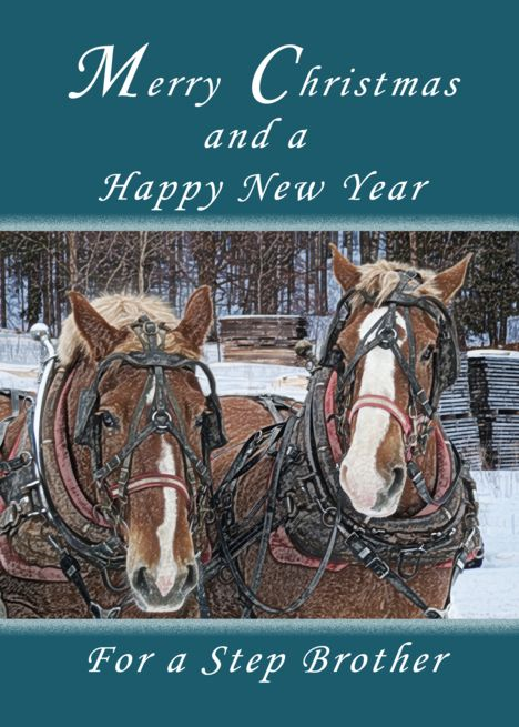 Merry Christmas And Happy New Year Step Brother Horses Card