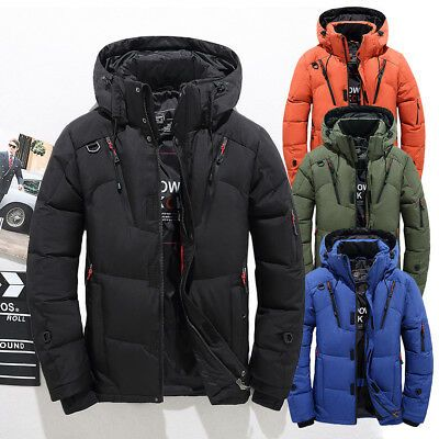Jacket Mens Puffer Down Thick Warm Winter Hooded Coat Duck Ski Parka Jacket Snow
