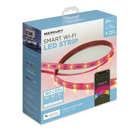 Merkury Innovations Smart Led Strip Lights 6 5ft Trimmable Dimmable Walmart Com Led Light Strips Strip Lighting Led Strip Lighting