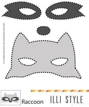 raccoon mask printable template - illistyle com by l belle