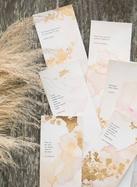 Imperfect gold foil adorned Found and Created's skinny invites, which were backed with classic love quotes.
