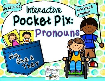 Pronouns He She They Pocket Pix By Blooming Speech Works Tpt Pronoun Therapy Activities Pocket