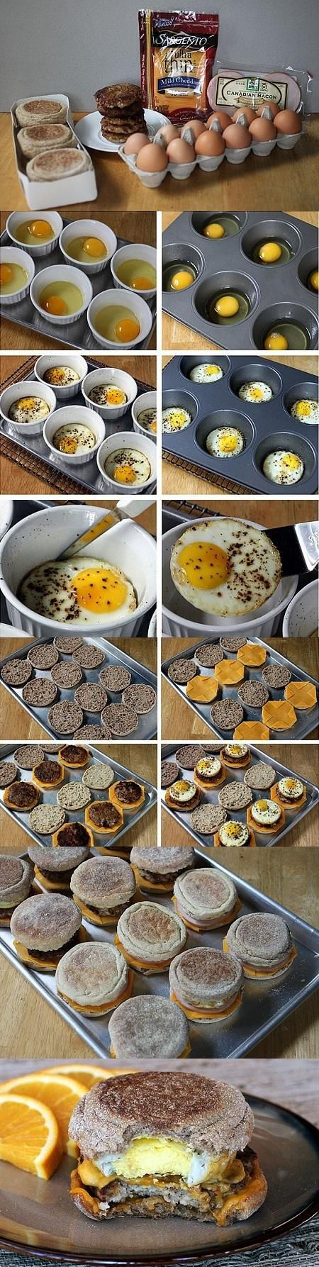 Sausage Egg McMuffuns - these were great! A little time consuming for school mornings, but easily pre-made and frozen. Definitely don't use an ordinary muffin tin for the eggs! *MCB