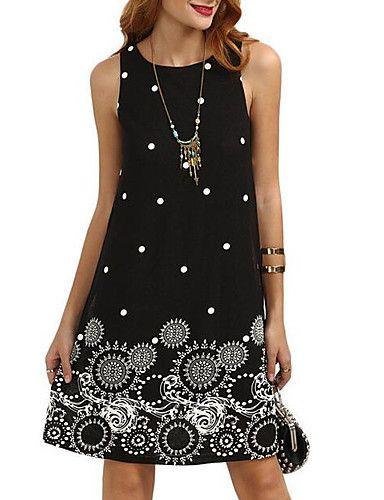 8606734f5 Women's Going out Shift Dress - Graphic Print Summer Black Dark Blue Wine # fashion #