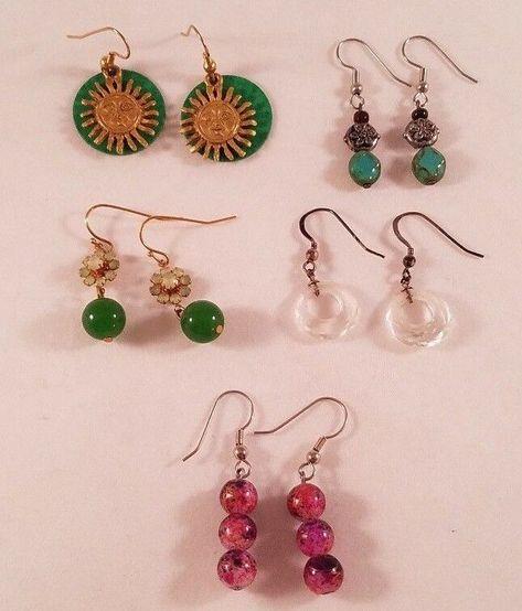 Pierced Earrings Lot Of 5 Dangle Fashion Jewelry Multiple Colors