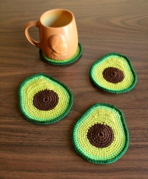 # crochet projects for the home Avocado Coaster Set - Made to Order Crochet Kitchen, Crochet Home, Knit Or Crochet, Crochet Crafts, Yarn Crafts, Diy Crafts, Easy Crochet, Thread Crochet, Doilies Crochet